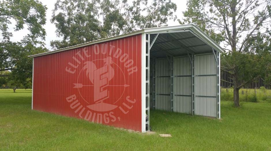 Enclosed red carport